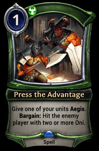 Press the Advantage card