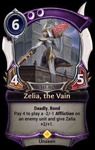 Zelia, the Vain card