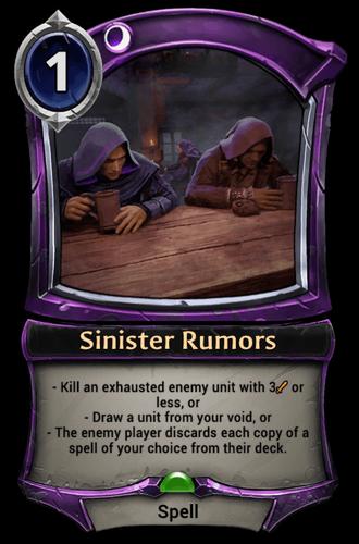 Sinister Rumors card