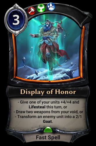 Display of Honor card