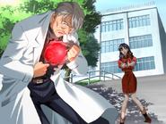 Misato Katsuragi apunta con su arma