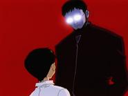 Shinji enfrenta a su padre en una alucinación