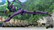 Evangelion Unidad 01 Rebuild Corre