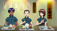 Mana Kirishima y sus compañeros