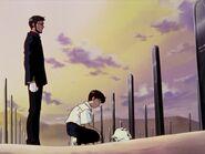 Ikari Shinji visita la tumba de su madre