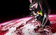 Evangelion Unidad 08 en el espacio
