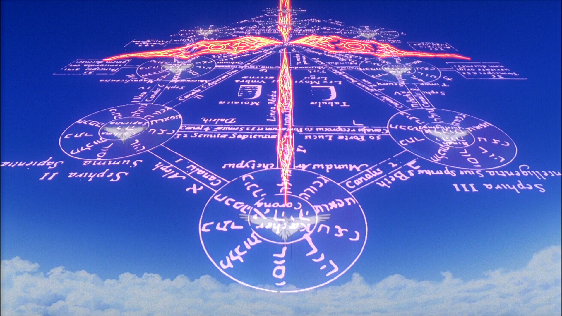 Tree Of Life Evangelion Fandom The tree of sephiroth (tree of life) is mentioned, as well as shown in the opening title sequence and in gendo's office, with hebrew inscriptions on it (the terms written there are mostly kabbalic). tree of life evangelion fandom