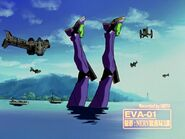 Evangelion Unidad 01 vergonzosamente derrotado por Israfel