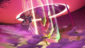 Eva-02 attacks Sahaquiel's A.T.F.