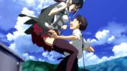 Mari collide Shinji (Rebuild)