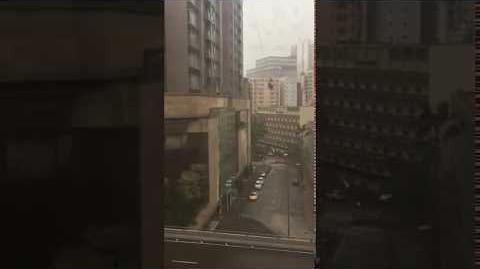 天鴿10號風球 豪宅吊船爆玻璃