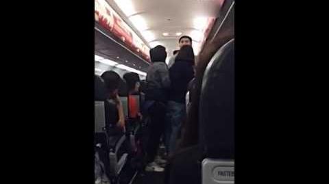 亞航FD9101一對中國男女在機上打架並揚言炸飛機、自殺,更向空姐潑水
