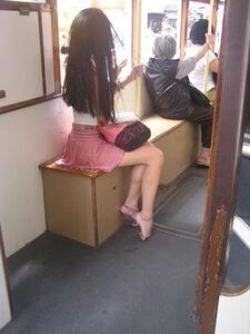 Christina in tram