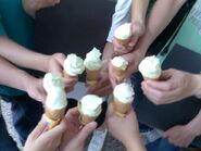 Group of free ice-cream