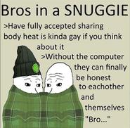Bros in a snuggie