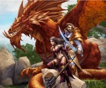 Promotional art of Nagafen with adventurers