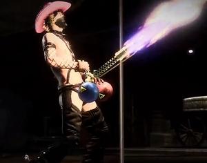 Dylan Fuentes wypuszczający ogień ze swojej wyrzutni