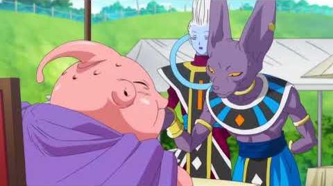 DBZ battle of gods movie Majin Buu fight Beerus over pudding FUNNY MOMENTS