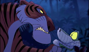 Shere Khan interrogating Kaa