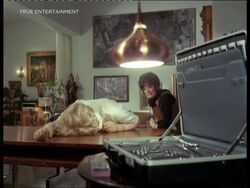 Circe Bishop knocked out (Hilary Pritchard with Linda Thorson)