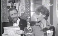 The receptionist with Auntie (Yolande Turner with Alfred Burke)