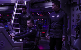 Lt. Mancuso attempts to cover for Admiral Souther in Fleet Admiral Nguyen's presence.
