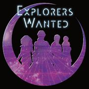 Logo of Explorers Wanted. Silhouettes of explorers against a purple background with a moon behind the text.