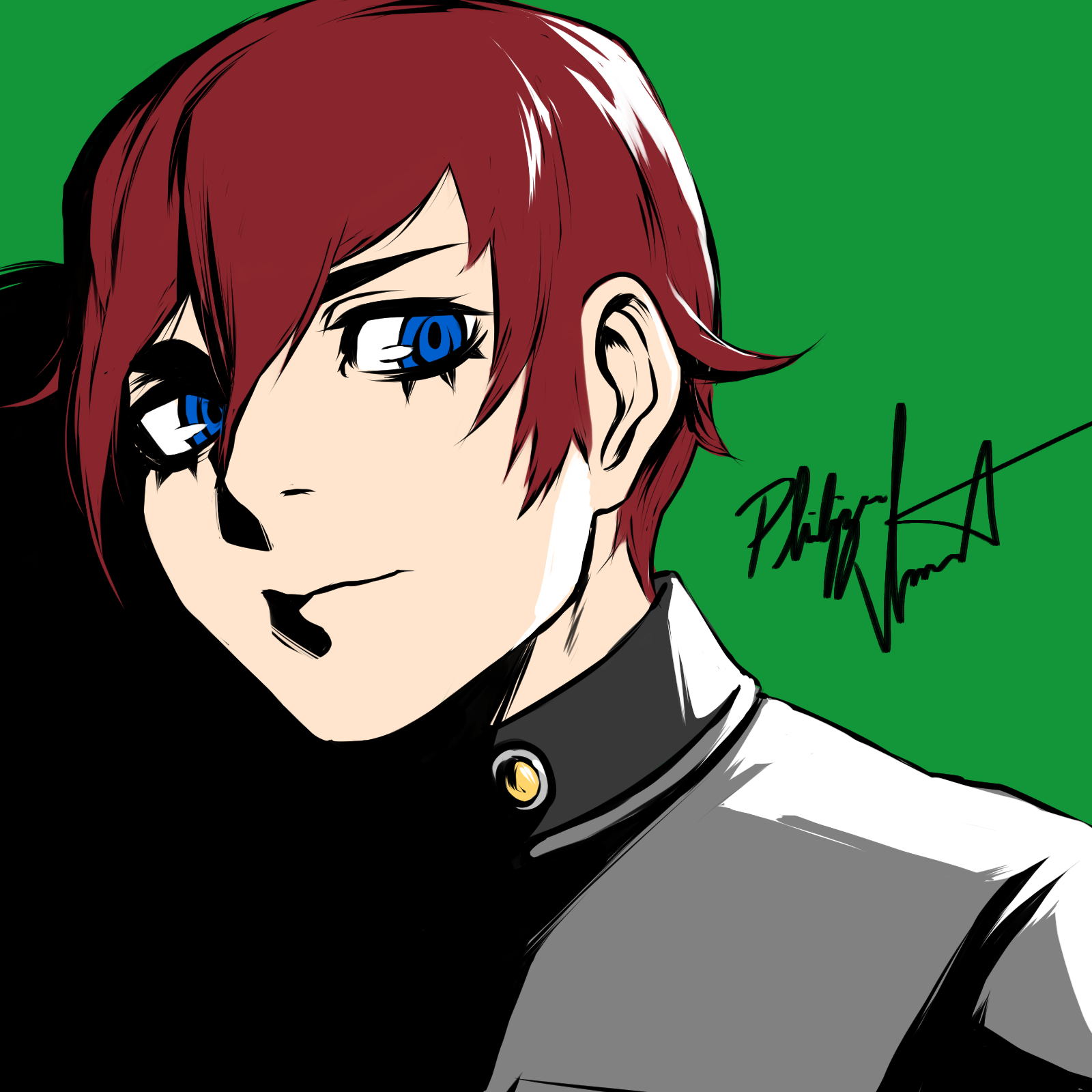 I drew the protagonist from Revelations Persona so ur welcome lol