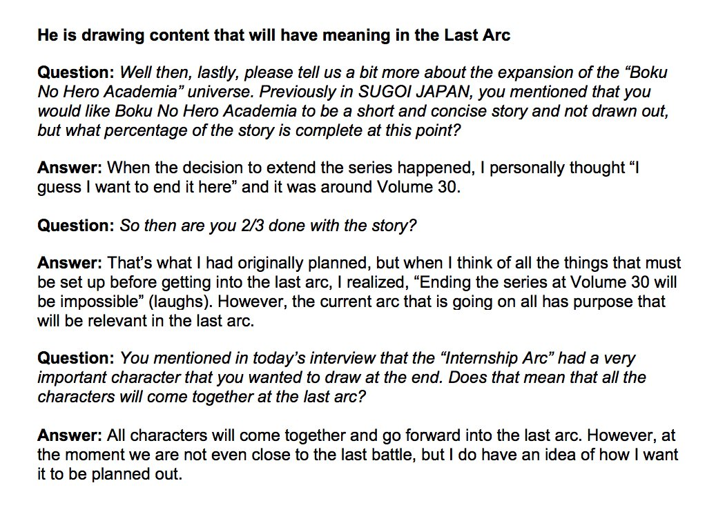 Horikoshi Interview On The End Of The Series Discussions My Hero