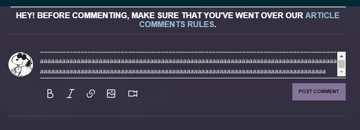 i suggest we should have the comment area expand when commenting. (6 lines cmt in pic)