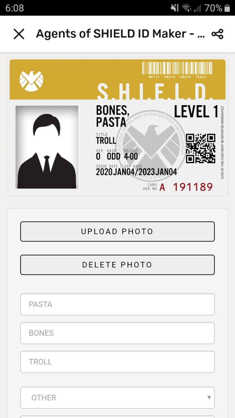 Join S.H.I.E.L.D. Today  Fandom For Shield Id Card Template