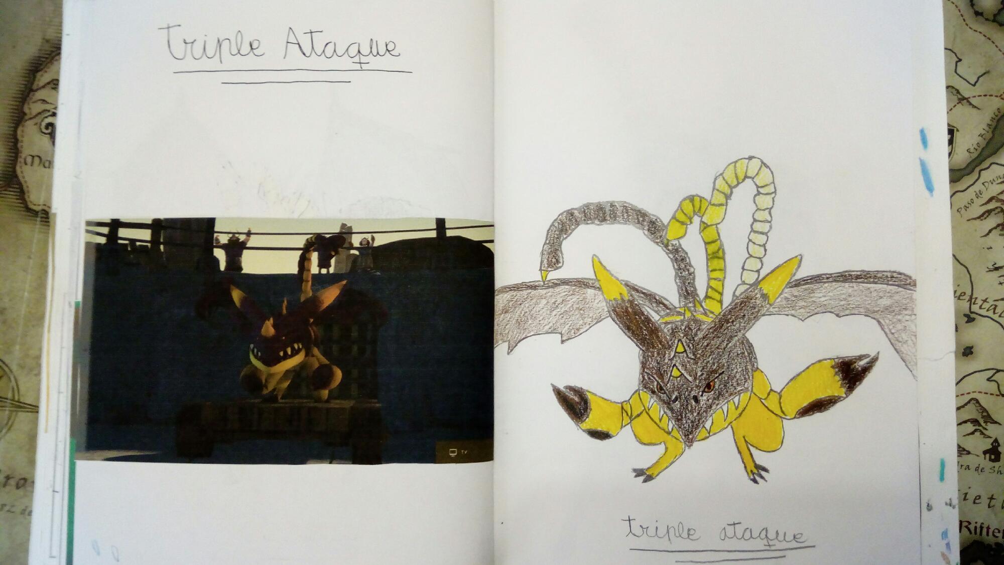 Dibujo de libro de dragones: triple ataque