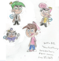 Timmy, Poof, Wanda, and Cosmo with Scary Faces