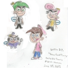 Timmy, Poof, Wanda, and Cosmo with Scary Faces.png