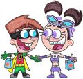 Timmy and tootie as robin and starfire by nintendomaximus-d5jh62y