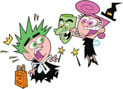 Wanda scaring Cosmo with a scary mask