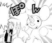 Natsu et Happy, stupéfaits devant l'apparition de Plue.jpg