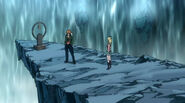 Lucy and Loke before Karen's grave