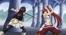 Erza y Kagura chocan espadas.png