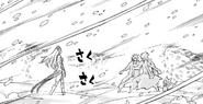 Hakune freezing Gray, Natsu and Happy