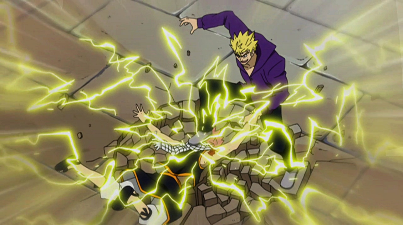 Natsu slammed to the ground by Laxus.jpg