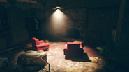 FO76SD Orwell Orchards bomb shelter loung fireplace