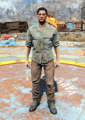 FO4 Green shirt and combat boots male