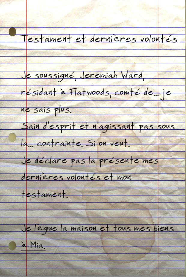 Dernières volontés et testament de Jeremiah Ward