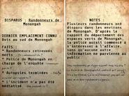 FO76 Non résolue Randonneurs disparus (tableau)