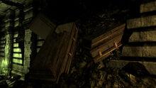 Exposed coffins