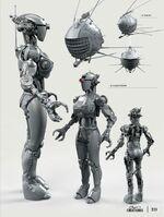 FO4 Assaultron and Eyebot concept art