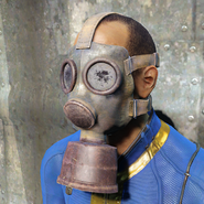 Gas mask goggles worn