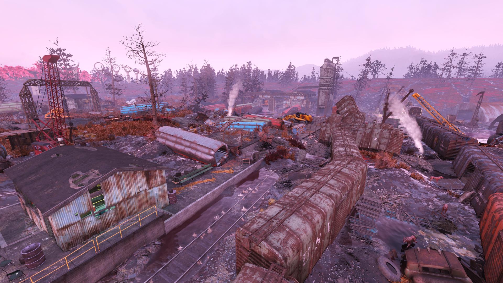 Flooded trainyard