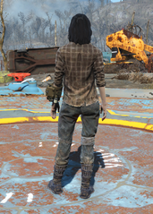 Flannel Shirt and Jeans, Back View (Female)